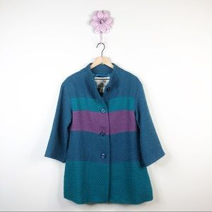 Anthro | Tabitha Purple / Teal Colorblock Coat
